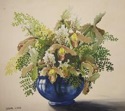Barbara Everard watercolour paint of Cypripedium insigne