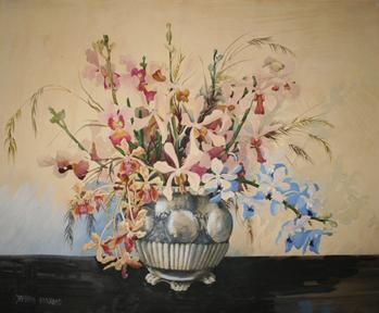 Large Watercolour Painting of Orchids in a Vase by Barbara Everard